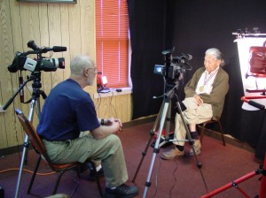 "Donald L. Vasicek - Alfrech ""Heap of Birds"", Cheyenne on location in Clinton, Oklahoma during interview for the award-winning documentary film, ""The Sand Creek Massacre"""
